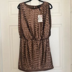 Laundry Bronze Sequin Cocktail Dress